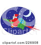 Royalty Free RF Clipart Illustration Of Santa Flying On A Christmas Tree Rocket