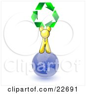 Clipart Illustration Of A Yellow Man Standing On Top Of The Blue Planet Earth And Holding Up Three Green Arrows Forming A Triangle And Moving In A Clockwise Motion Symbolizing Renewable Energy And Recycling by Leo Blanchette