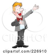 Royalty Free RF Clipart Illustration Of A Man Presenting And Announcing