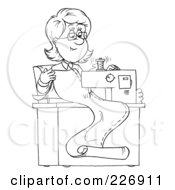 Royalty Free RF Clipart Illustration Of A Coloring Page Outline Of A Happy Seamstress Sewing