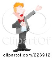 Royalty Free RF Clipart Illustration Of An Airbrushed Man Presenting And Announcing by Alex Bannykh