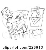 Royalty Free RF Clipart Illustration Of A Coloring Page Outline Of A Male Artist Drawing A Still Life by Alex Bannykh