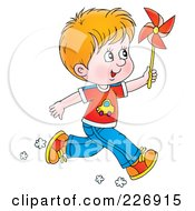 Royalty Free RF Clipart Illustration Of A Red Haired Boy Running With A Pinwheel by Alex Bannykh