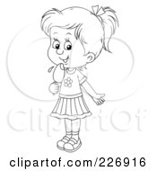 Royalty Free RF Clipart Illustration Of A Coloring Page Outline Of A Girl Licking A Popsicle by Alex Bannykh