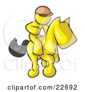 Clipart Illustration Of A Yellow Man A Jockey Riding On A Race Horse And Racing In A Derby