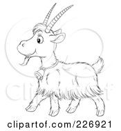 Royalty Free RF Clipart Illustration Of A Coloring Page Outline Of A Cute Goat by Alex Bannykh