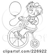 Royalty Free RF Clipart Illustration Of A Coloring Page Outline Of A Clown With A Balloon Riding A Bike by Alex Bannykh
