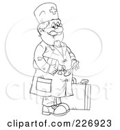 Royalty Free RF Clipart Illustration Of A Coloring Page Outline Of A Doctor Pouring Cough Syrup by Alex Bannykh