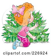 Royalty Free RF Clipart Illustration Of A Red Haired Girl Hiding Behind A Bush
