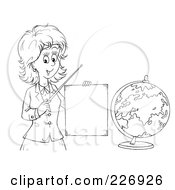 Royalty Free RF Clipart Illustration Of A Coloring Page Outline Of A Female Teacher Discussing Geography by Alex Bannykh