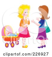 Royalty Free RF Clipart Illustration Of Two Airbrushed Women Chatting By A Baby