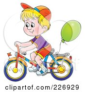Royalty Free RF Clipart Illustration Of A Blond Boy Riding A Bike With A Balloon Attached by Alex Bannykh