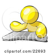Clipart Illustration Of A Yellow Man Character Seated And Reading The Daily Newspaper To Brush Up On Current Events