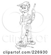 Royalty Free RF Clipart Illustration Of A Coloring Page Outline Of A Man Sweeping A Floor by Alex Bannykh
