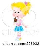 Royalty Free RF Clipart Illustration Of An Airbrushed Blond Girl Licking A Popsicle by Alex Bannykh