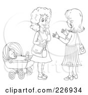 Royalty Free RF Clipart Illustration Of A Coloring Page Outline Of Two Women Chatting By A Baby