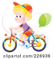 Royalty Free RF Clipart Illustration Of An AirbrushedBlond Boy Riding A Bike With A Balloon Attached