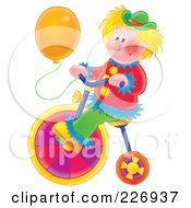 Royalty Free RF Clipart Illustration Of A Clown With A Balloon Riding A Colorful Bike by Alex Bannykh