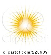 Royalty Free RF Clipart Illustration Of A Shining Sun With Concentric Circles And Long Rays by Maria Bell