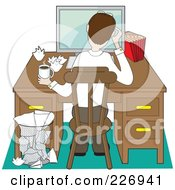 Royalty Free RF Clipart Illustration Of A Rear View Of A Stressed Man Working Through A Problem At A Computer On A Desk by Maria Bell