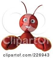 Royalty Free RF Clipart Illustration Of A 3d Lobster Holding A Blank Sign by Julos