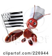 3d Lobster Chef Holding A Breton Flag And Looking Up