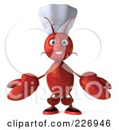 Royalty Free RF Clipart Illustration Of A 3d Lobster Chef Welcoming