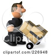 Royalty Free RF Clipart Illustration Of A 3d Business Toon Guy Pushing Boxes On A Dolly