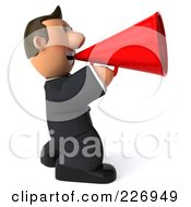 Royalty Free RF Clipart Illustration Of A 3d Business Toon Guy Facing Right With A Megaphone
