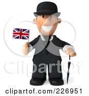 Royalty Free RF Clipart Illustration Of A 3d French Businessman Holding A Union Jack Flag And Facing Front