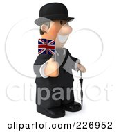 Royalty Free RF Clipart Illustration Of A 3d French Businessman Holding A Union Jack Flag And Facing Right