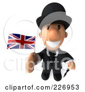 3d French Businessman Holding A Flag And Looking Upwards