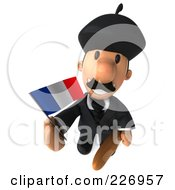 Royalty Free RF Clipart Illustration Of A 3d French Businessman Holding A Flag And Looking Upwards