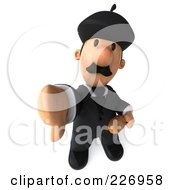 Royalty Free RF Clipart Illustration Of A 3d French Businessman Holding Bread And A Thumbs Down