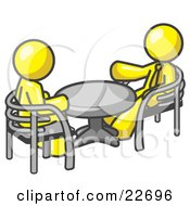 Clipart Illustration Of Two Yellow Business Men Sitting Across From Eachother At A Table During A Meeting by Leo Blanchette