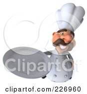 Royalty Free RF Clipart Illustration Of A 3d Chef Man Looking Up And Holding A Platter