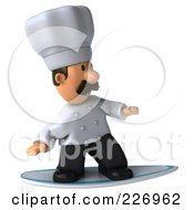 Royalty Free RF Clipart Illustration Of A 3d Chef Man Surfing 1 by Julos