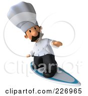Royalty Free RF Clipart Illustration Of A 3d Chef Man Surfing 2