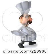 Royalty Free RF Clipart Illustration Of A 3d Chef Man Facing Right And Carrying A Platter by Julos