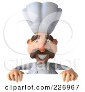 Royalty Free RF Clipart Illustration Of A 3d Chef Man Holding A Blank Sign by Julos