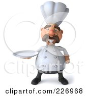 Royalty Free RF Clipart Illustration Of A 3d Chef Man Facing Front And Carrying A Platter by Julos