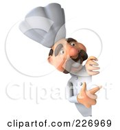 Royalty Free RF Clipart Illustration Of A 3d Chef Man Pointing To A Blank Sign by Julos