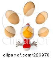 Royalty Free RF Clipart Illustration Of A 3d White Chicken Looking Up At Eggs