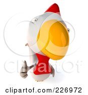 Royalty Free RF Clipart Illustration Of A 3d White Chicken Holding A Thumb Up by Julos
