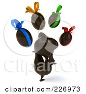 Royalty Free RF Clipart Illustration Of A 3d Chocolate Chicken With Eggs And Colorful Bows 2