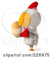 Royalty Free RF Clipart Illustration Of A 3d White Chicken Holding An Egg
