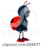 Royalty Free RF Clipart Illustration Of A 3d Ladybug Facing Right by Julos