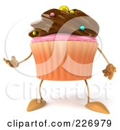 Royalty Free RF Clipart Illustration Of A 3d Chocolate Frosted Cupcake Gesturing by Julos
