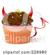 3d Devil Chocolate Frosted Cupcake