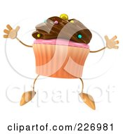 Royalty Free RF Clipart Illustration Of A 3d Chocolate Frosted Cupcake Jumping
